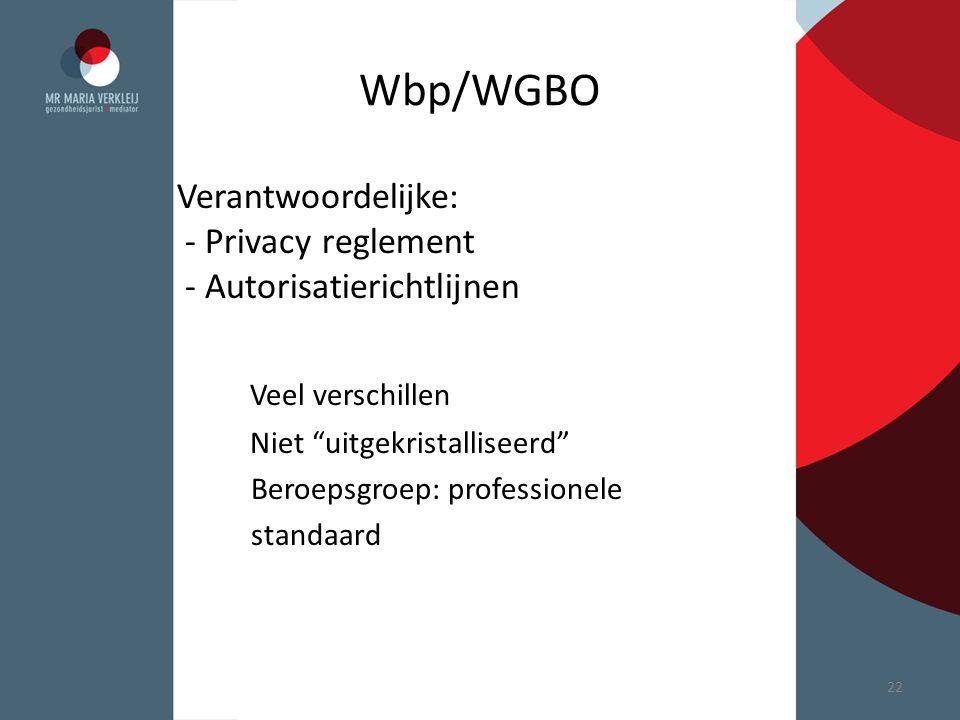 """Wbp/WGBO Verantwoordelijke: - Privacy reglement - Autorisatierichtlijnen Veel verschillen Niet """"uitgekristalliseerd"""" Beroepsgroep: professionele stand"""