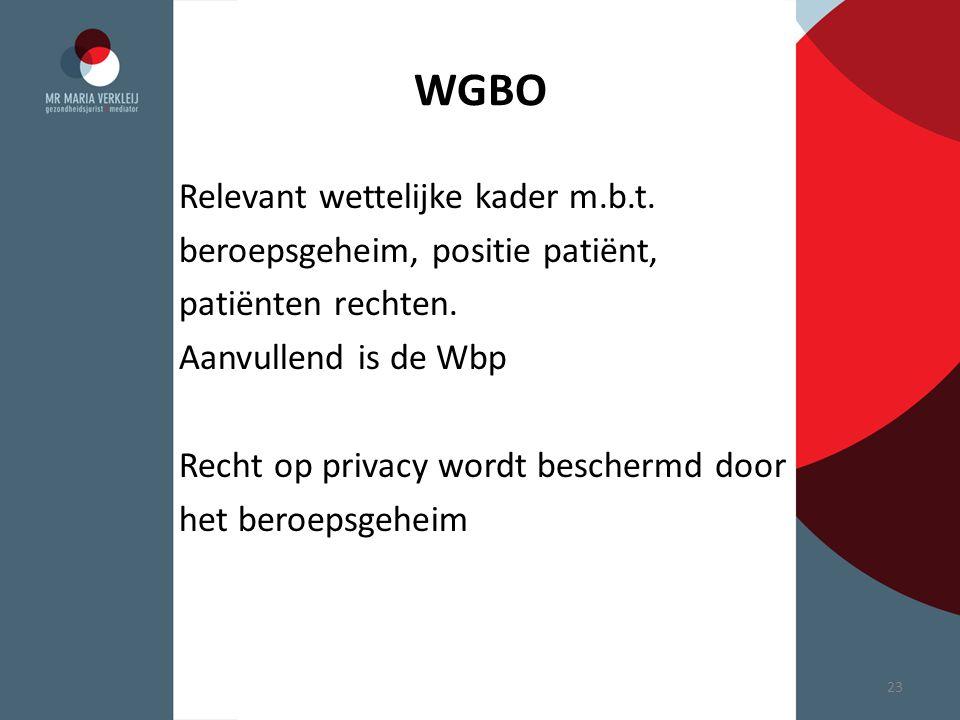 WGBO Relevant wettelijke kader m.b.t. beroepsgeheim, positie patiënt, patiënten rechten. Aanvullend is de Wbp Recht op privacy wordt beschermd door he