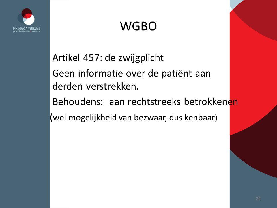 WGBO Artikel 457: de zwijgplicht Geen informatie over de patiënt aan derden verstrekken. Behoudens: aan rechtstreeks betrokkenen ( wel mogelijkheid va