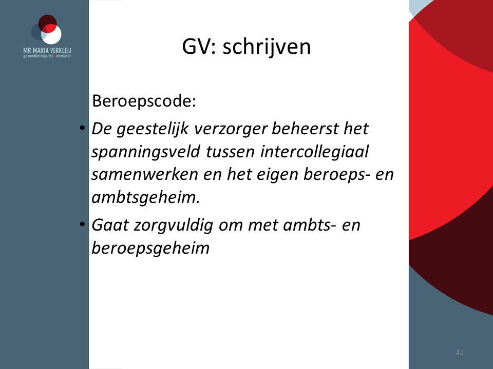 GV: schrijven Beroepscode: De geestelijk verzorger beheerst het spanningsveld tussen intercollegiaal samenwerken en het eigen beroeps- en ambtsgeheim.