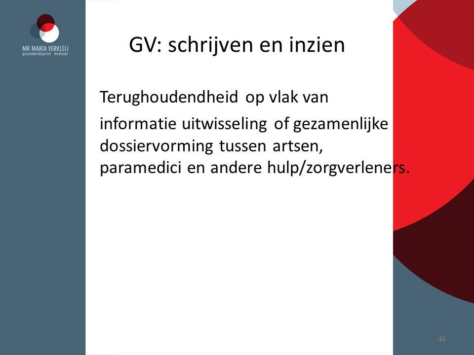 GV: schrijven en inzien Terughoudendheid op vlak van informatie uitwisseling of gezamenlijke dossiervorming tussen artsen, paramedici en andere hulp/z