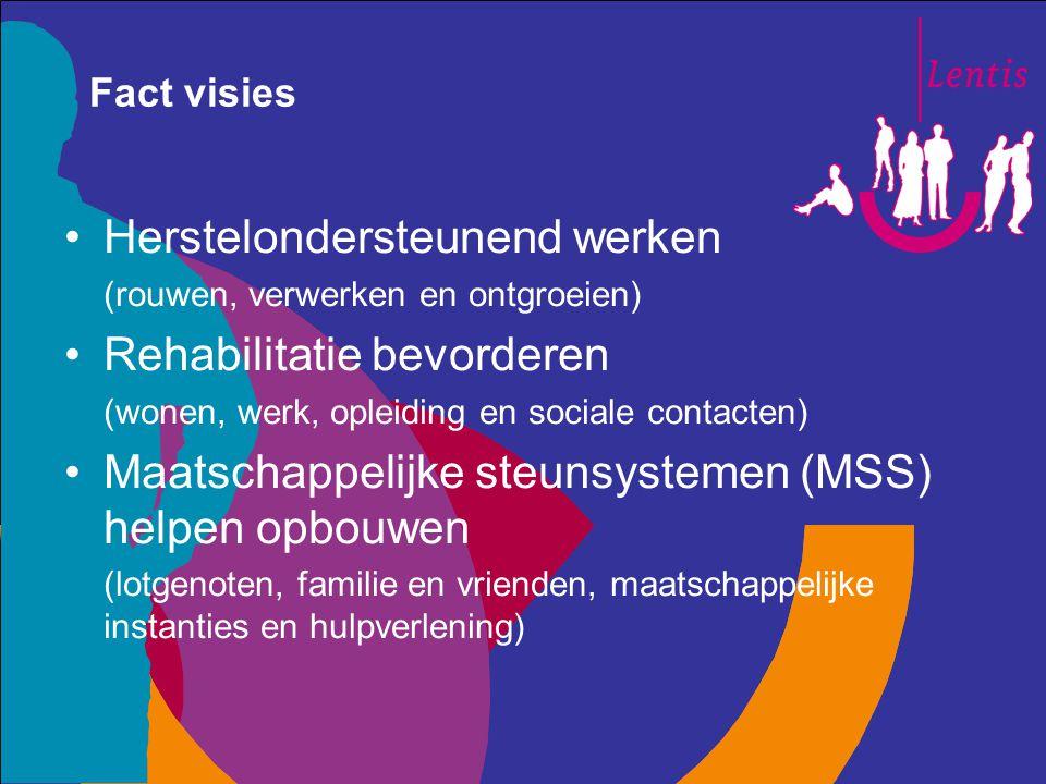 Fact visies Herstelondersteunend werken (rouwen, verwerken en ontgroeien) Rehabilitatie bevorderen (wonen, werk, opleiding en sociale contacten) Maats