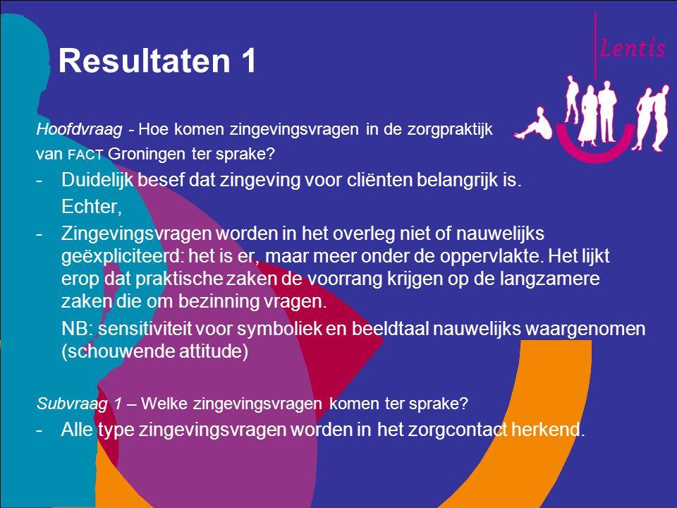 Resultaten 1 Hoofdvraag - Hoe komen zingevingsvragen in de zorgpraktijk van FACT Groningen ter sprake? -Duidelijk besef dat zingeving voor cliënten be