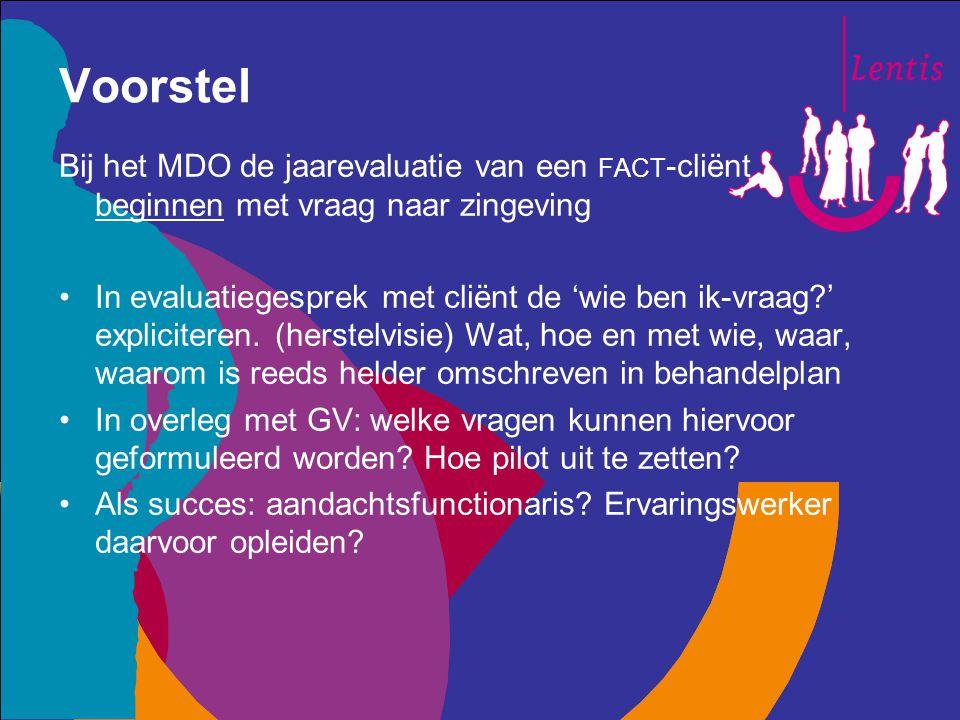 Voorstel Bij het MDO de jaarevaluatie van een FACT -cliënt beginnen met vraag naar zingeving In evaluatiegesprek met cliënt de 'wie ben ik-vraag?' exp
