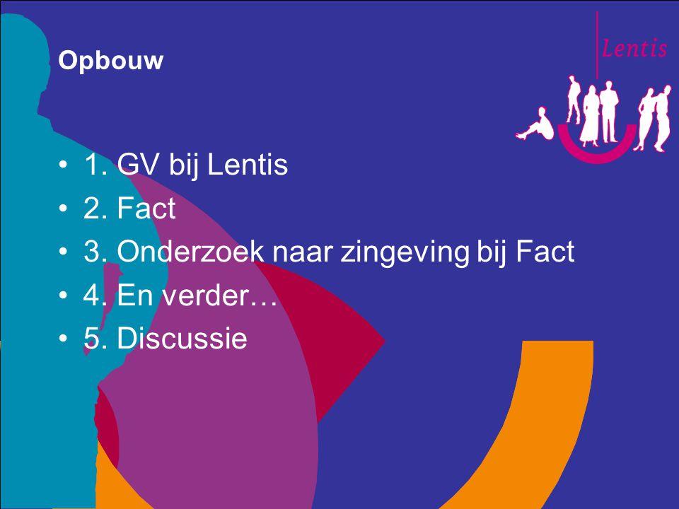 Opbouw 1. GV bij Lentis 2. Fact 3. Onderzoek naar zingeving bij Fact 4. En verder… 5. Discussie