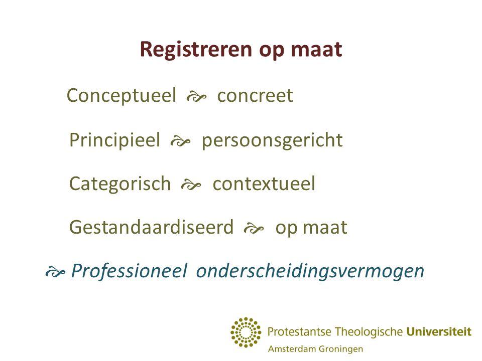 Registreren op maat Conceptueel  concreet Principieel  persoonsgericht Categorisch  contextueel Gestandaardiseerd  op maat  Professioneel onderscheidingsvermogen