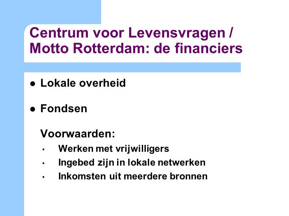 Centrum voor Levensvragen / Motto Rotterdam: de financiers Lokale overheid Fondsen Voorwaarden: Werken met vrijwilligers Ingebed zijn in lokale netwerken Inkomsten uit meerdere bronnen