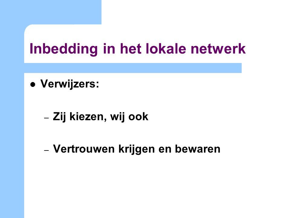 Inbedding in het lokale netwerk Verwijzers: – Zij kiezen, wij ook – Vertrouwen krijgen en bewaren