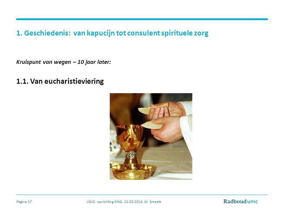 1. Geschiedenis: van kapucijn tot consulent spirituele zorg Kruispunt van wegen – 10 jaar later: 1.1. Van eucharistieviering VGVZ. oprichting SING. 12