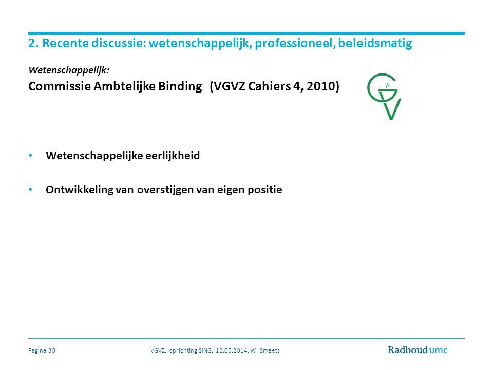 2. Recente discussie: wetenschappelijk, professioneel, beleidsmatig Wetenschappelijk: Commissie Ambtelijke Binding (VGVZ Cahiers 4, 2010) Wetenschappe
