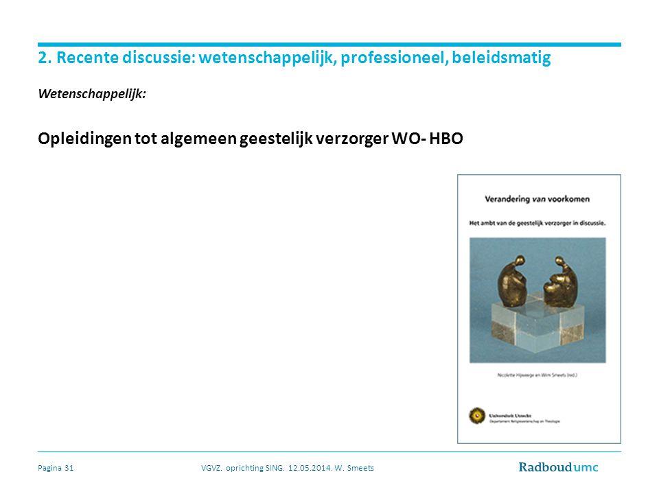 2. Recente discussie: wetenschappelijk, professioneel, beleidsmatig Wetenschappelijk: Opleidingen tot algemeen geestelijk verzorger WO- HBO VGVZ. opri