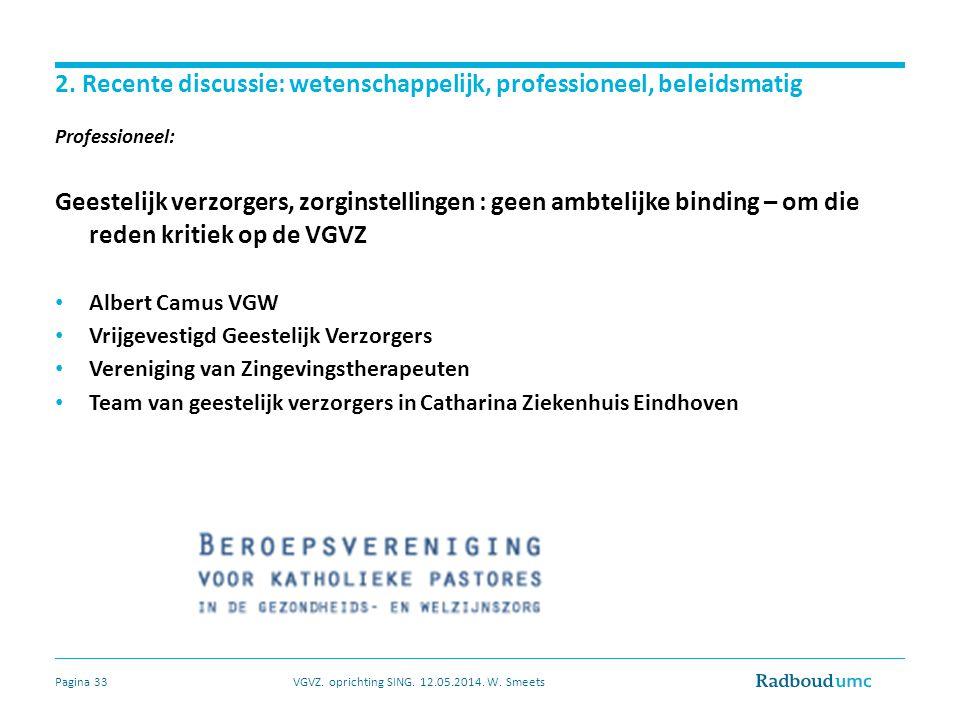 2. Recente discussie: wetenschappelijk, professioneel, beleidsmatig Professioneel: Geestelijk verzorgers, zorginstellingen : geen ambtelijke binding –