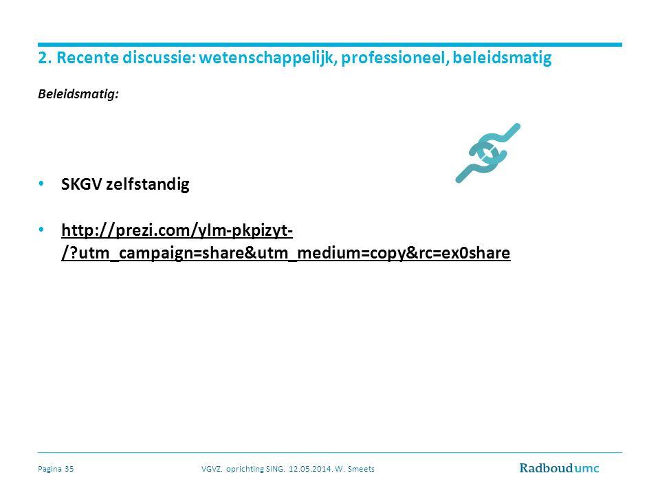 2. Recente discussie: wetenschappelijk, professioneel, beleidsmatig Beleidsmatig: SKGV zelfstandig http://prezi.com/ylm-pkpizyt- /?utm_campaign=share&