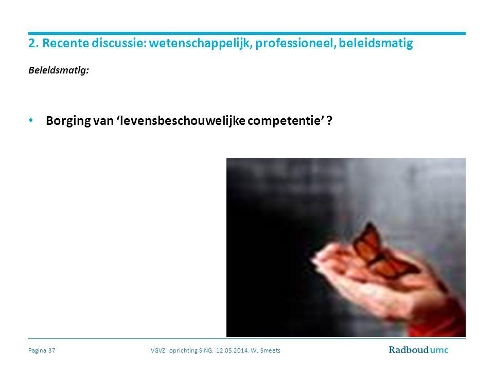 2. Recente discussie: wetenschappelijk, professioneel, beleidsmatig Beleidsmatig: Borging van 'levensbeschouwelijke competentie' ? VGVZ. oprichting SI