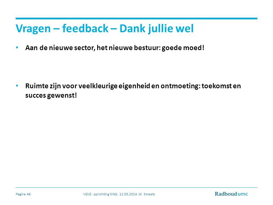 Vragen – feedback – Dank jullie wel Aan de nieuwe sector, het nieuwe bestuur: goede moed.