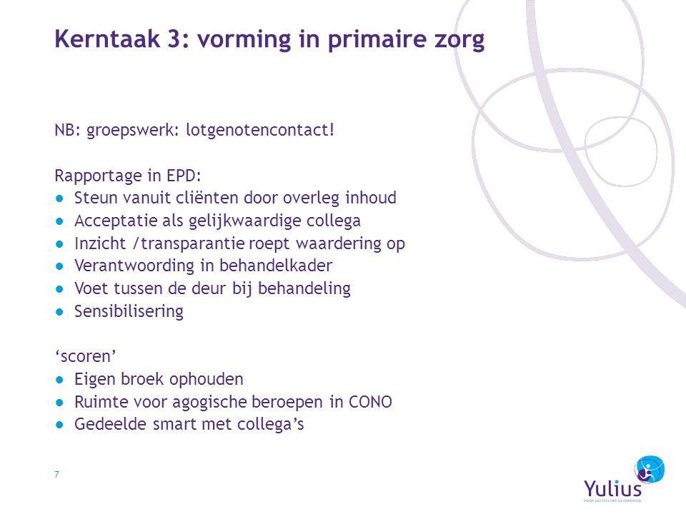 Kerntaak 3: vorming in primaire zorg 7 NB: groepswerk: lotgenotencontact! Rapportage in EPD: ●Steun vanuit cliënten door overleg inhoud ●Acceptatie al