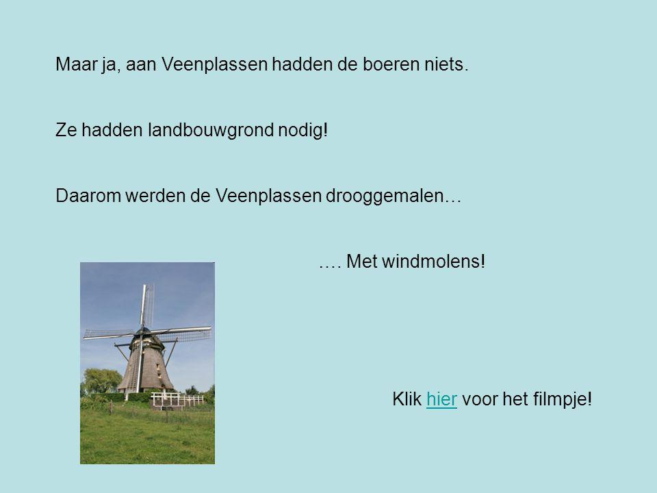 Maar ja, aan Veenplassen hadden de boeren niets. Ze hadden landbouwgrond nodig! Daarom werden de Veenplassen drooggemalen… …. Met windmolens! Klik hie