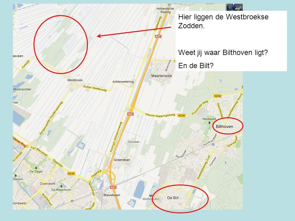 Hier liggen de Westbroekse Zodden. Weet jij waar Bilthoven ligt? En de Bilt?