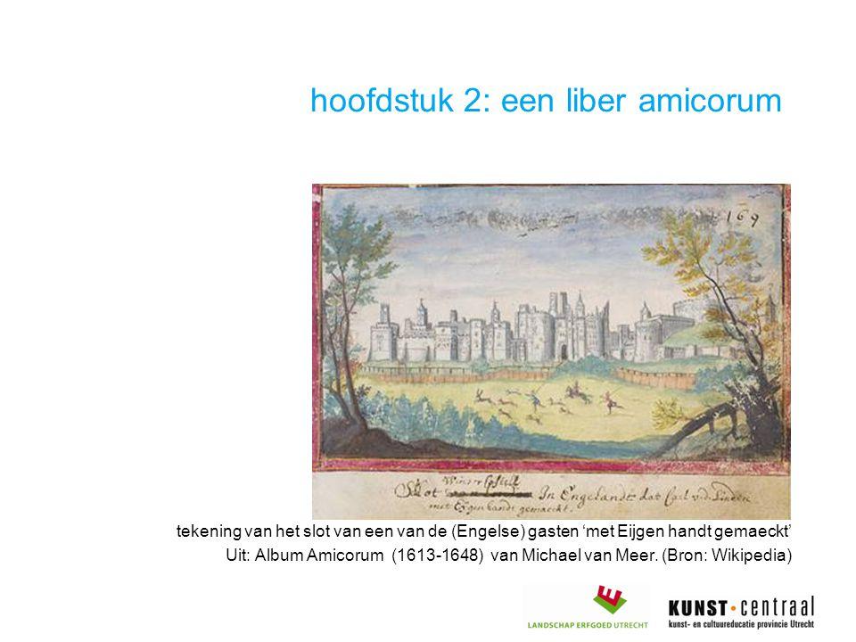 hoofdstuk 2: een liber amicorum tekening van het slot van een van de (Engelse) gasten 'met Eijgen handt gemaeckt' Uit: Album Amicorum (1613-1648) van Michael van Meer.