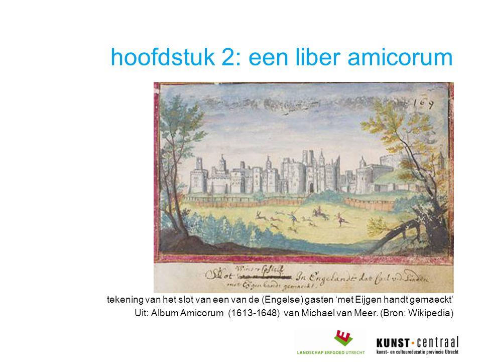 hoofdstuk 2: een liber amicorum tekening van het slot van een van de (Engelse) gasten 'met Eijgen handt gemaeckt' Uit: Album Amicorum (1613-1648) van