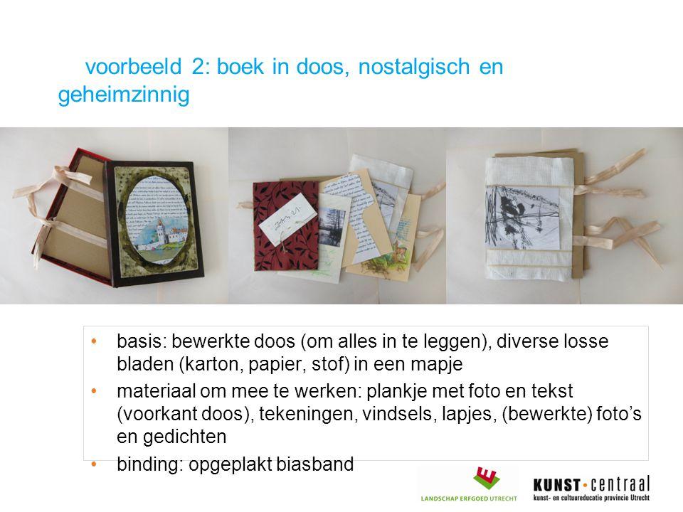 voorbeeld 2: boek in doos, nostalgisch en geheimzinnig basis: bewerkte doos (om alles in te leggen), diverse losse bladen (karton, papier, stof) in ee