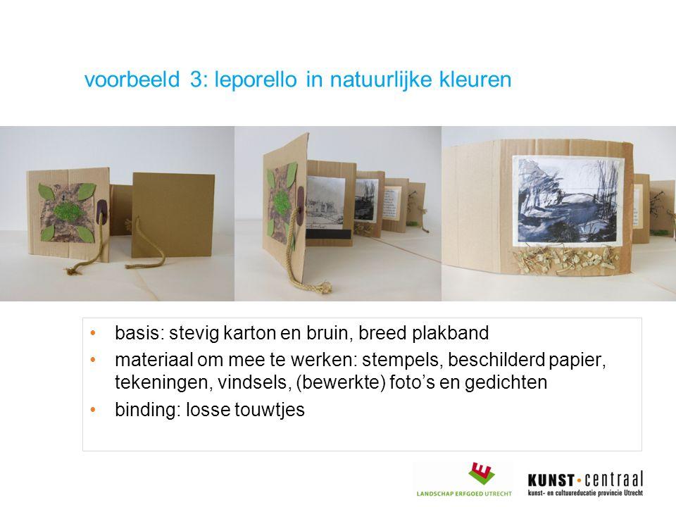 basis: stevig karton en bruin, breed plakband materiaal om mee te werken: stempels, beschilderd papier, tekeningen, vindsels, (bewerkte) foto's en ged