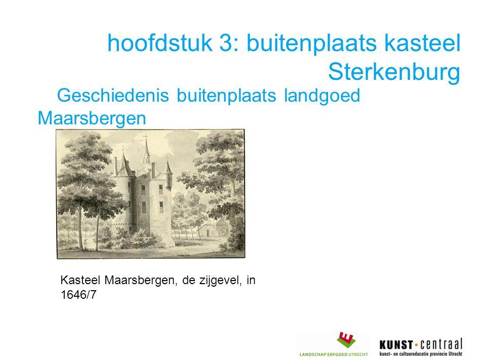 hoofdstuk 3: buitenplaats kasteel Sterkenburg Geschiedenis buitenplaats landgoed Maarsbergen Kasteel Maarsbergen, de zijgevel, in 1646/7