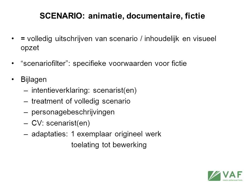"""SCENARIO: animatie, documentaire, fictie = volledig uitschrijven van scenario / inhoudelijk en visueel opzet """"scenariofilter"""": specifieke voorwaarden"""