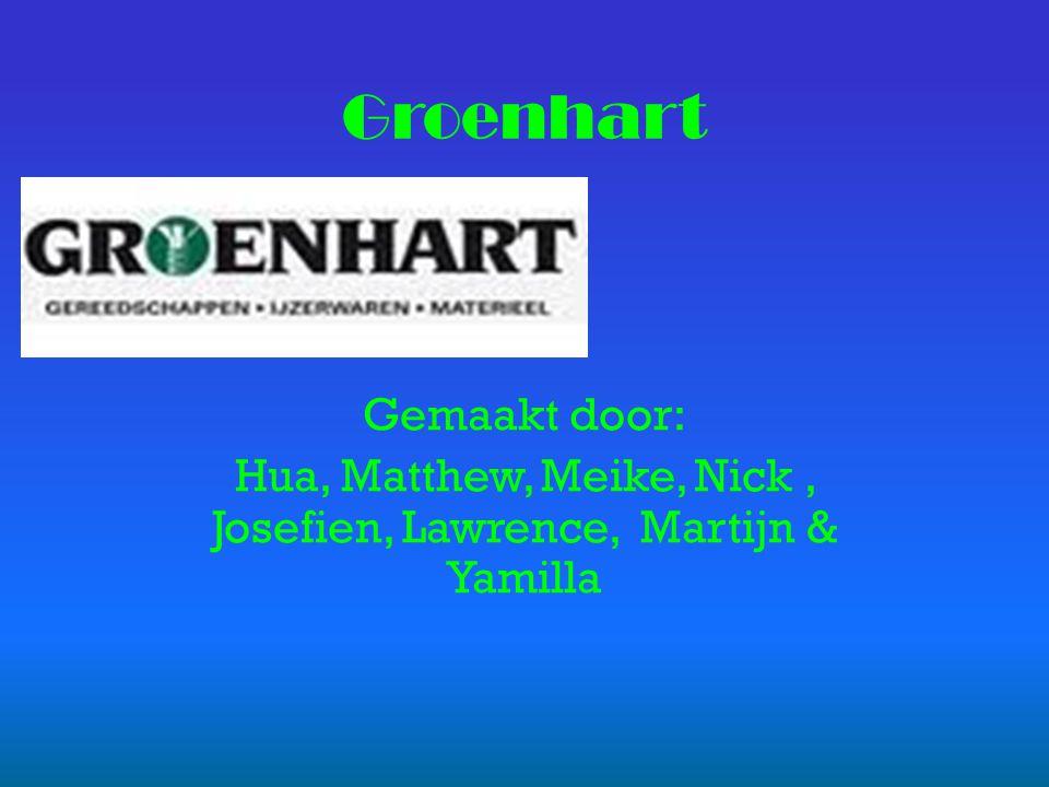 Gemaakt door: Hua, Matthew, Meike, Nick, Josefien, Lawrence, Martijn & Yamilla Groenhart
