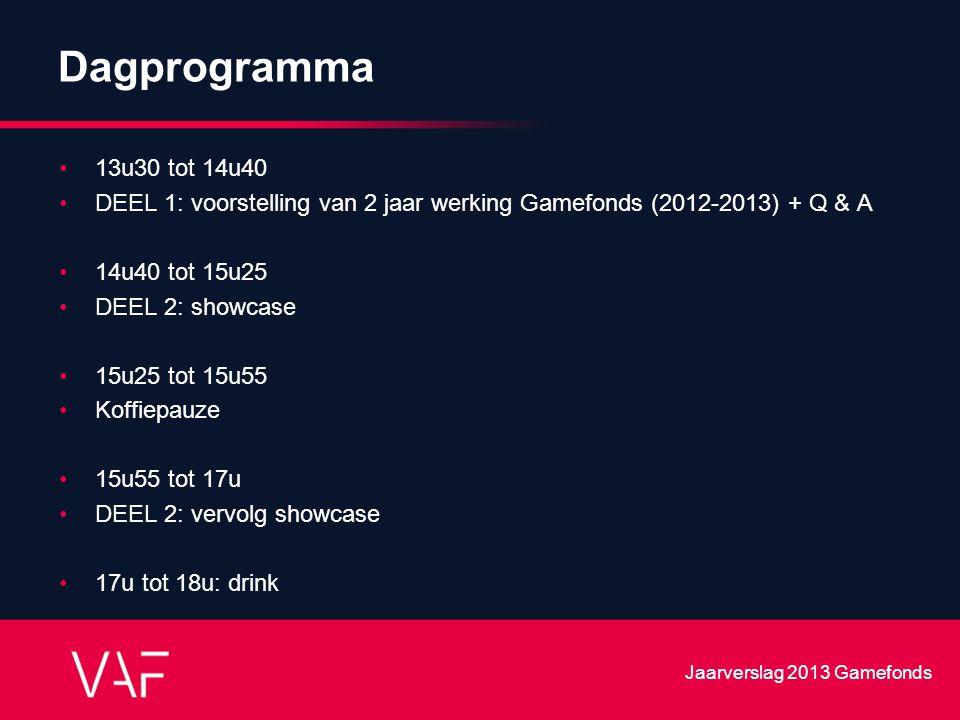 Dagprogramma 13u30 tot 14u40 DEEL 1: voorstelling van 2 jaar werking Gamefonds (2012-2013) + Q & A 14u40 tot 15u25 DEEL 2: showcase 15u25 tot 15u55 Ko