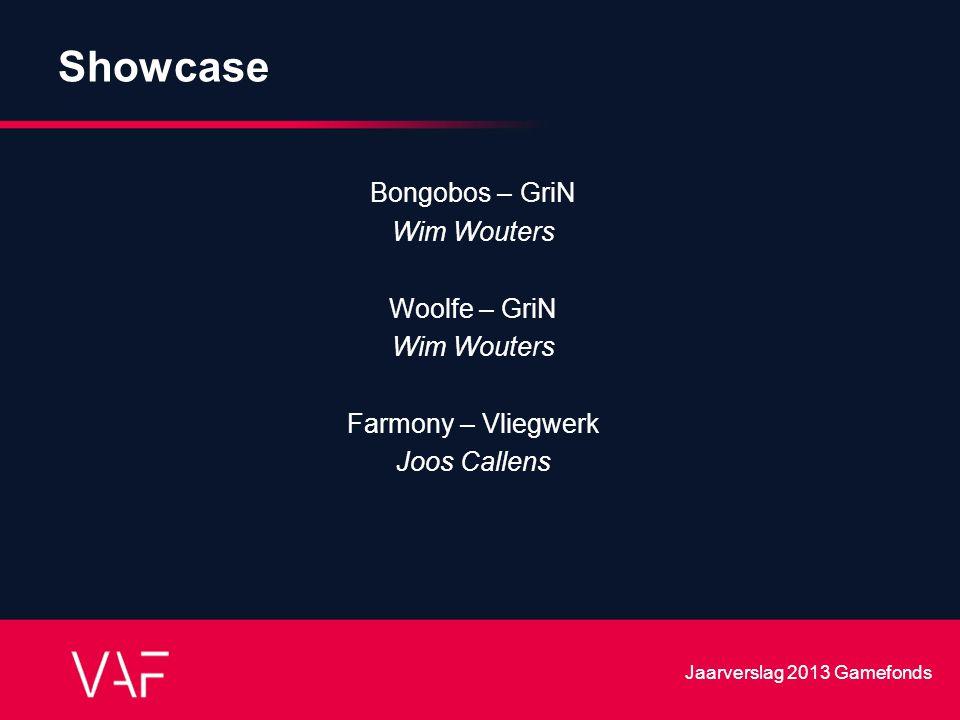 Showcase Bongobos – GriN Wim Wouters Woolfe – GriN Wim Wouters Farmony – Vliegwerk Joos Callens Jaarverslag 2013 Gamefonds