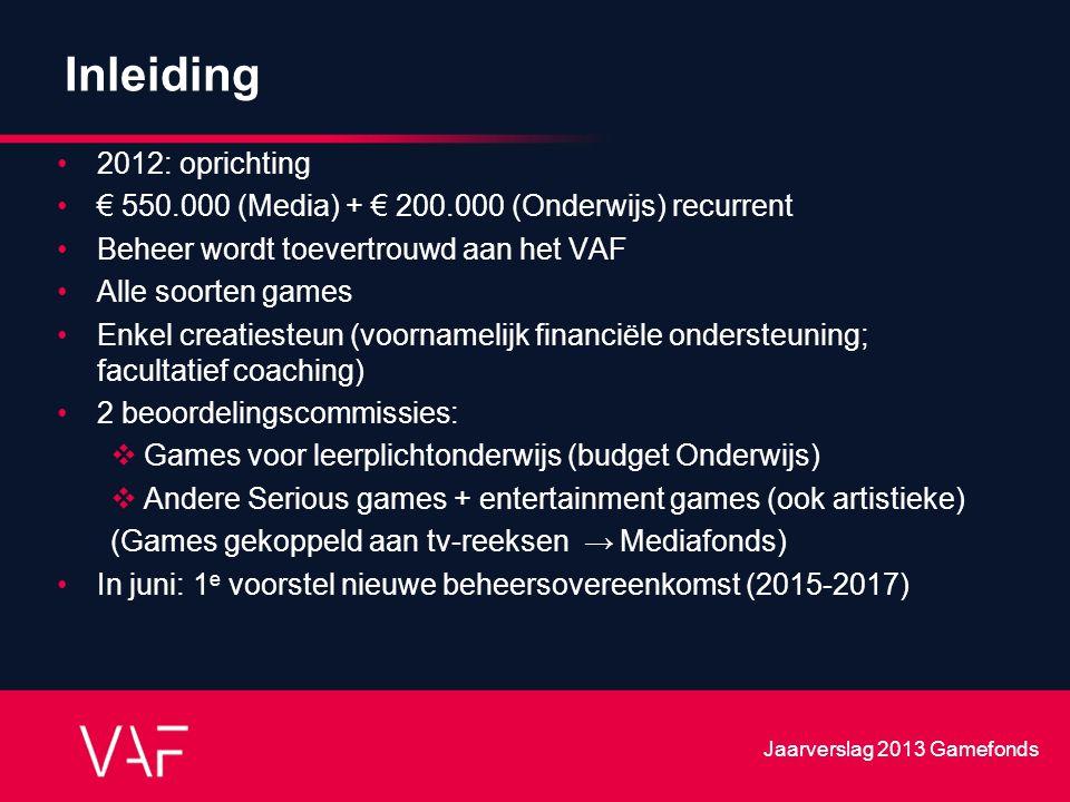 Inleiding 2012: oprichting € 550.000 (Media) + € 200.000 (Onderwijs) recurrent Beheer wordt toevertrouwd aan het VAF Alle soorten games Enkel creaties