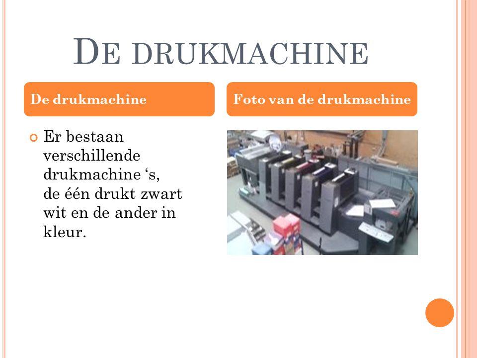 D E DRUKMACHINE Er bestaan verschillende drukmachine 's, de één drukt zwart wit en de ander in kleur.