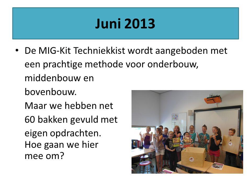 Juni 2013 De MIG-Kit Techniekkist wordt aangeboden met een prachtige methode voor onderbouw, middenbouw en bovenbouw. Maar we hebben net 60 bakken gev