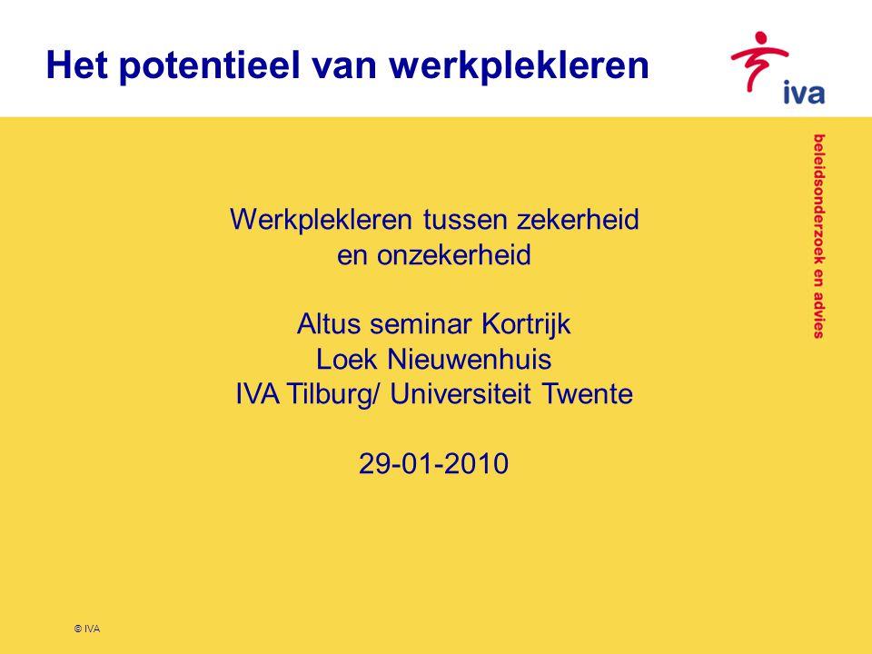 © IVA Het potentieel van werkplekleren Werkplekleren tussen zekerheid en onzekerheid Altus seminar Kortrijk Loek Nieuwenhuis IVA Tilburg/ Universiteit