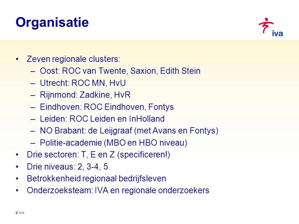 © IVA Organisatie Zeven regionale clusters: –Oost: ROC van Twente, Saxion, Edith Stein –Utrecht: ROC MN, HvU –Rijnmond: Zadkine, HvR –Eindhoven: ROC Eindhoven, Fontys –Leiden: ROC Leiden en InHolland –NO Brabant: de Leijgraaf (met Avans en Fontys) –Politie-academie (MBO en HBO niveau) Drie sectoren: T, E en Z (specificeren!) Drie niveaus: 2, 3-4, 5 Betrokkenheid regionaal bedrijfsleven Onderzoeksteam: IVA en regionale onderzoekers