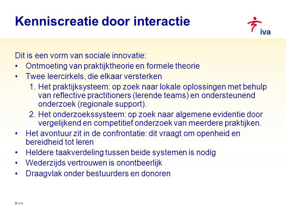 © IVA Kenniscreatie door interactie Dit is een vorm van sociale innovatie: Ontmoeting van praktijktheorie en formele theorie Twee leercirkels, die elk