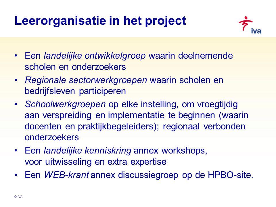 © IVA Leerorganisatie in het project Een landelijke ontwikkelgroep waarin deelnemende scholen en onderzoekers Regionale sectorwerkgroepen waarin schol