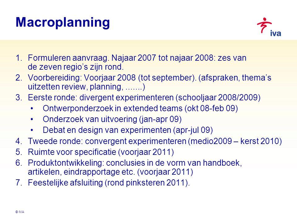 © IVA Macroplanning 1.Formuleren aanvraag. Najaar 2007 tot najaar 2008: zes van de zeven regio's zijn rond. 2.Voorbereiding: Voorjaar 2008 (tot septem
