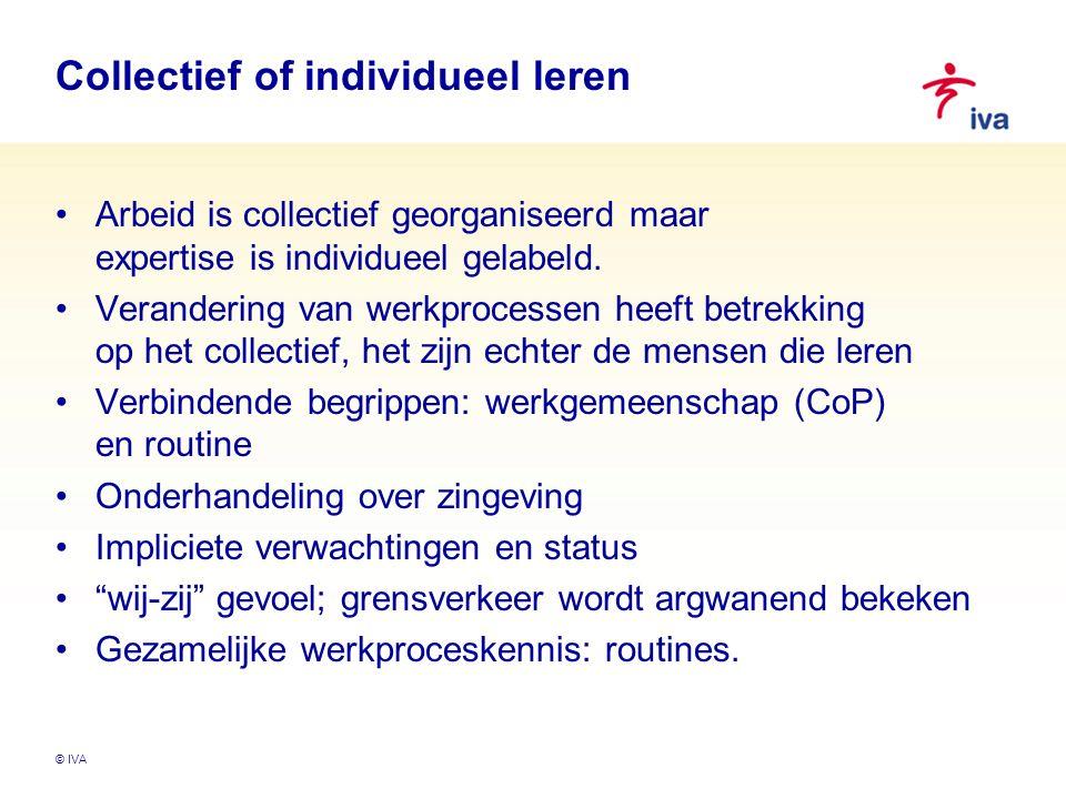 © IVA Collectief of individueel leren Arbeid is collectief georganiseerd maar expertise is individueel gelabeld. Verandering van werkprocessen heeft b
