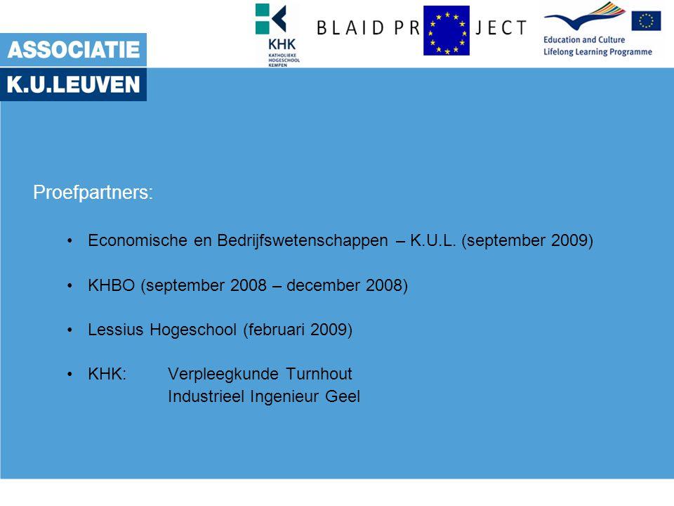 Proefpartners: Economische en Bedrijfswetenschappen – K.U.L.