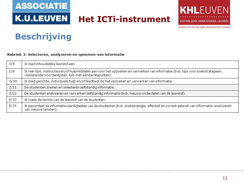 11 Het ICTi-instrument Beschrijving Rubriek 2: Selecteren, analyseren en opnemen van informatie O/8Ik bied inhoudelijke leerstof aan.