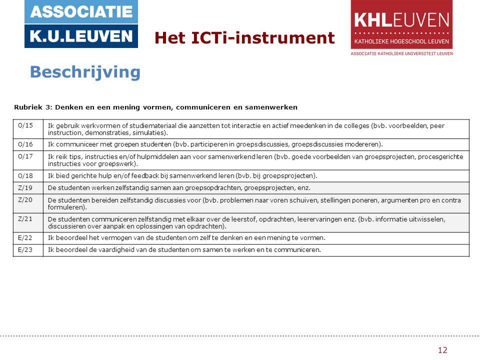 12 Het ICTi-instrument Beschrijving Rubriek 3: Denken en een mening vormen, communiceren en samenwerken O/15Ik gebruik werkvormen of studiemateriaal die aanzetten tot interactie en actief meedenken in de colleges (bvb.