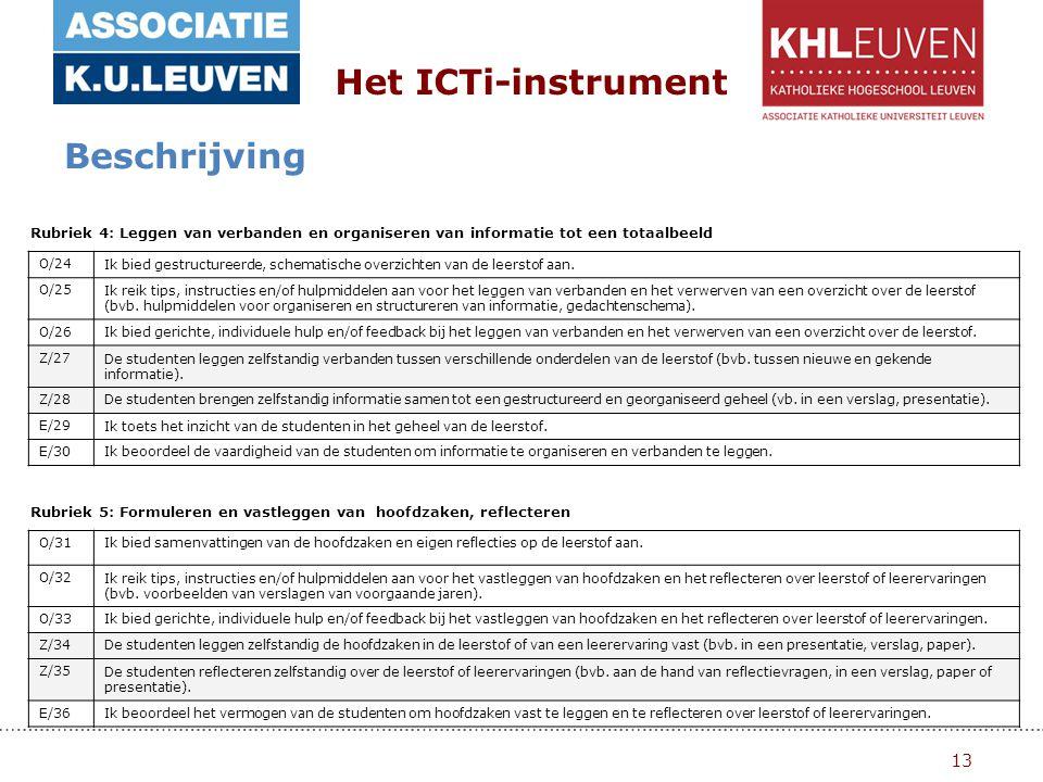13 Het ICTi-instrument Beschrijving Rubriek 4: Leggen van verbanden en organiseren van informatie tot een totaalbeeld O/24Ik bied gestructureerde, schematische overzichten van de leerstof aan.