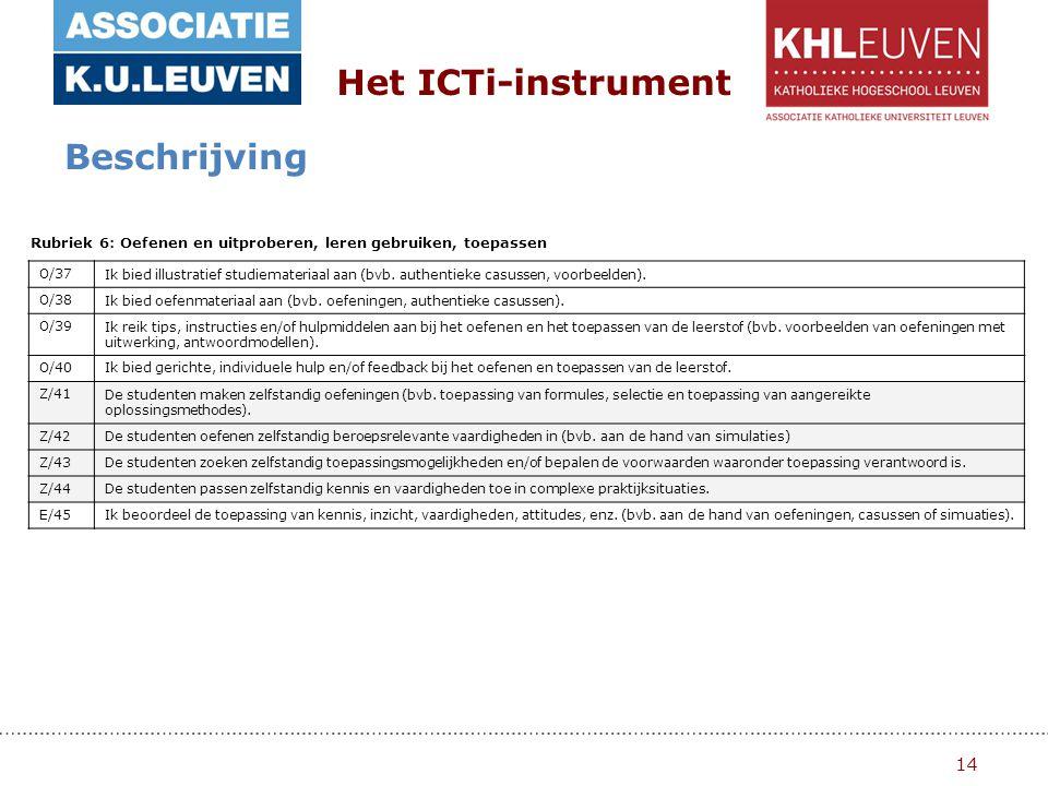 14 Het ICTi-instrument Beschrijving Rubriek 6: Oefenen en uitproberen, leren gebruiken, toepassen O/37Ik bied illustratief studiemateriaal aan (bvb.