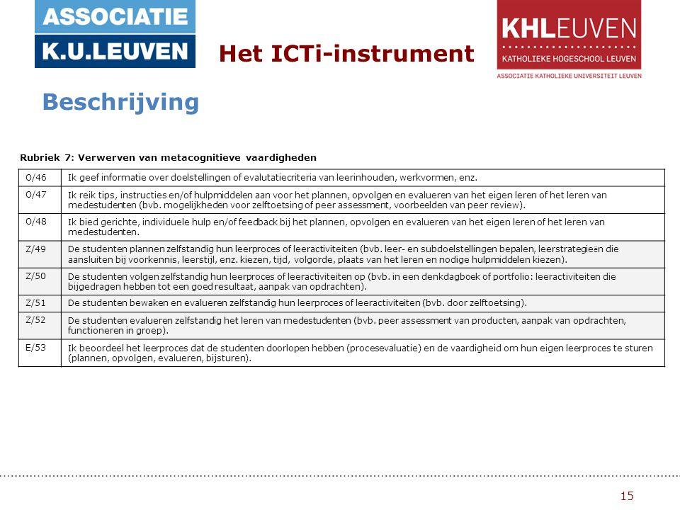 15 Het ICTi-instrument Beschrijving Rubriek 7: Verwerven van metacognitieve vaardigheden O/46Ik geef informatie over doelstellingen of evalutatiecriteria van leerinhouden, werkvormen, enz.