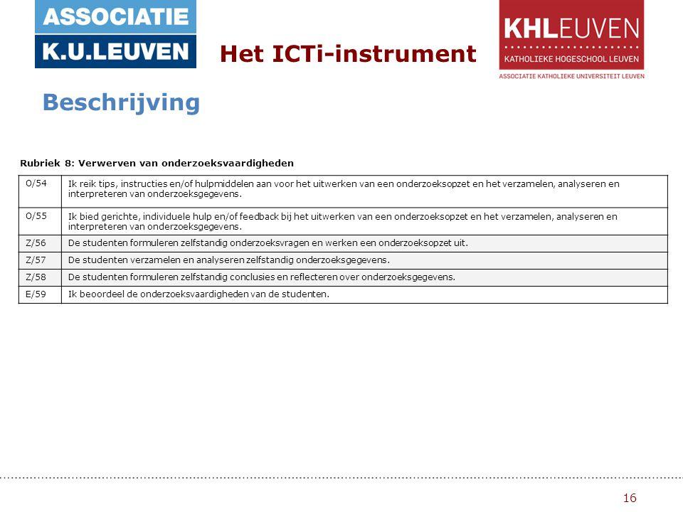 16 Het ICTi-instrument Beschrijving Rubriek 8: Verwerven van onderzoeksvaardigheden O/54Ik reik tips, instructies en/of hulpmiddelen aan voor het uitwerken van een onderzoeksopzet en het verzamelen, analyseren en interpreteren van onderzoeksgegevens.