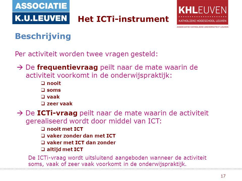 17 Het ICTi-instrument Beschrijving Per activiteit worden twee vragen gesteld: De ICTi-vraag wordt uitsluitend aangeboden wanneer de activiteit soms, vaak of zeer vaak voorkomt in de onderwijspraktijk.