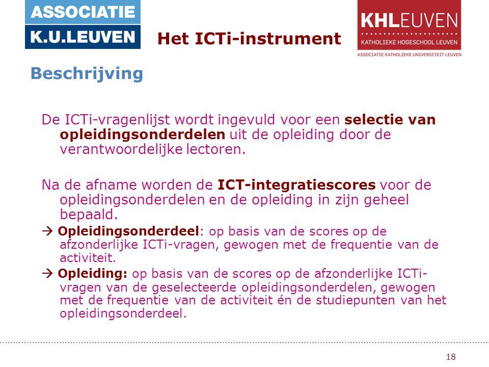 18 Het ICTi-instrument Beschrijving De ICTi-vragenlijst wordt ingevuld voor een selectie van opleidingsonderdelen uit de opleiding door de verantwoordelijke lectoren.