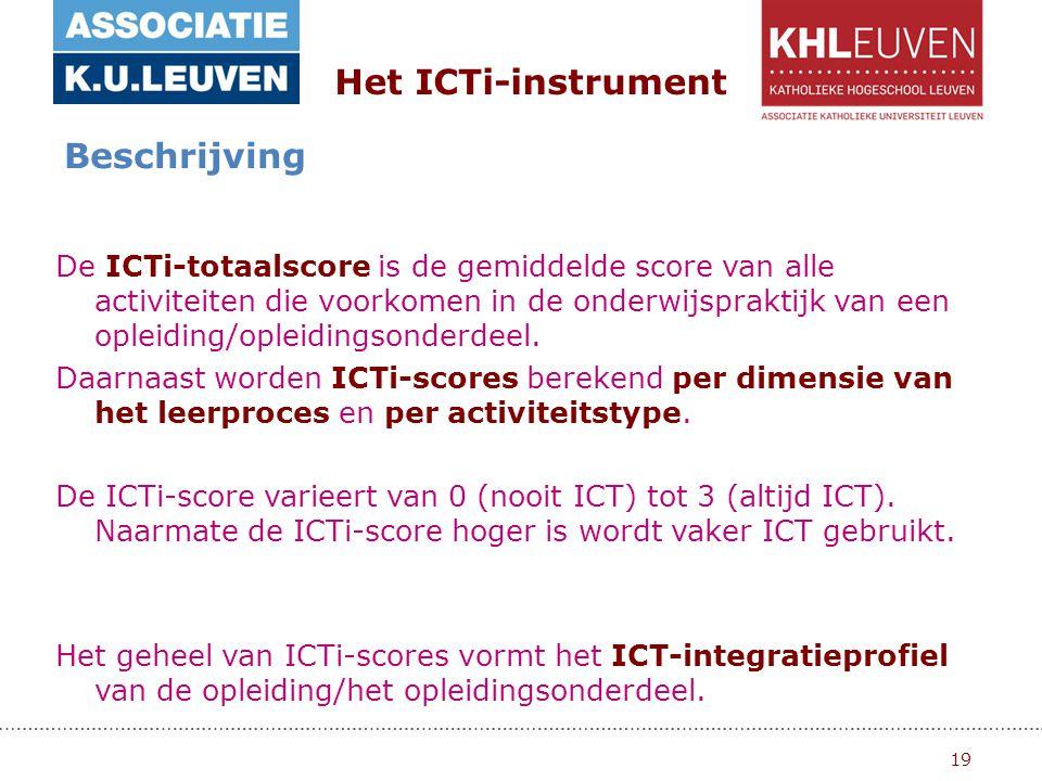19 Het ICTi-instrument Beschrijving De ICTi-totaalscore is de gemiddelde score van alle activiteiten die voorkomen in de onderwijspraktijk van een opleiding/opleidingsonderdeel.